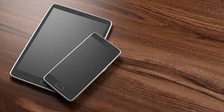 Smartphone e tabuleta com as telas pretas vazias no fundo de madeira, espaço da cópia ilustração 3D Fotografia de Stock Royalty Free