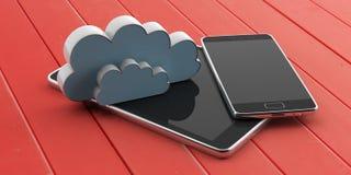 Smartphone e tabuleta com as telas pretas vazias e uma nuvem no fundo de madeira vermelho ilustração 3D Imagem de Stock Royalty Free