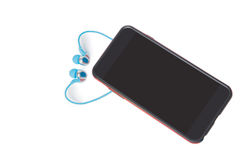 Smartphone with earphone isolated on a white Stock Photo