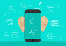 Smartphone with ears,recording audio on screen. Background with simple line icons.Concept of security and protection of Royalty Free Stock Photography