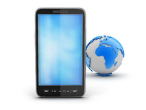 Smartphone and earth globe Royalty Free Stock Image