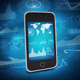 Smartphone, earth and graphics Royalty Free Stock Images