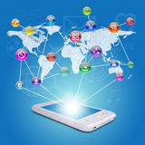 Smartphone, earth map and application icons Stock Image