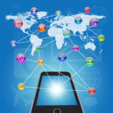 Smartphone, earth map and application icons Stock Photo