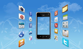 Smartphone ed icone dei apps Fotografia Stock Libera da Diritti