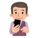 Smartphone ed uomini senior Immagini Stock Libere da Diritti