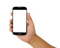 smartphone in een hand Stock Foto