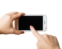 Smartphone in einer weiblichen Hand Stockfotografie
