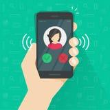 Smartphone eller mobiltelefonringning eller att kalla vektorillustrationen, plan appell för tecknad filmsvartmobiltelefon eller v Fotografering för Bildbyråer