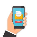 Smartphone email sending concept Stock Images