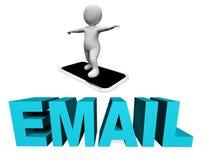 Smartphone email Wskazuje Wysyła wiadomości I telefonu komórkowego 3d rendering Fotografia Royalty Free