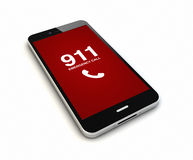 Smartphone emergency call render. Render of an original smartphone with emergency call on the screen. Screen graphics are made up stock illustration