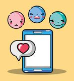 Smartphone with emoji emotion faces character. Vector illustration Royalty Free Stock Photography