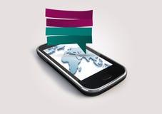 Smartphone en caja de diálogo Fotos de archivo libres de regalías