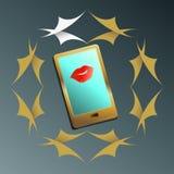 Smartphone en de lippen van vrouwen stock illustratie