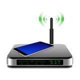 Smartphone en el router inalámbrico con el ejemplo de la antena Fotos de archivo