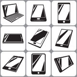 Smartphone en Geplaatste Tabletpictogrammen Vector Illustratie