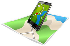 Smartphone en kaart Royalty-vrije Stock Foto's