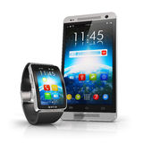 Smartphone en slim horloge Stock Foto