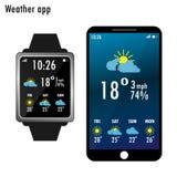Smartphone en slim horloge met weer app op het scherm vlak royalty-vrije illustratie
