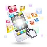 Smartphone en toepassingspictogrammen Stock Afbeeldingen