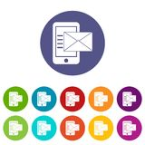Smartphone with envelope set icons Stock Image