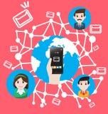 Smartphone envoient à email le marketing du monde Photo stock