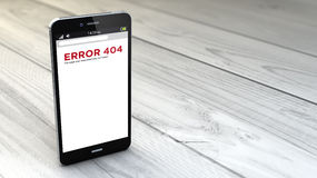 Smartphone error 404 over white wooden background Stock Photos