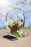 Smartphone et écouteurs sur un fond en bois jeunesse Amour S Photo stock