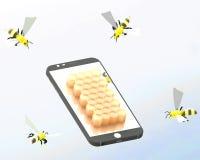 Smartphone et abeilles Photographie stock