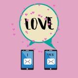 Smartphone et mot d'amour EPS10 illustration de vecteur