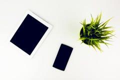 Smartphone et Tablette à côté de plante verte Images stock