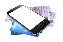Smartphone, euro notes and credit cards for mobile payment Royalty Free Stock Image