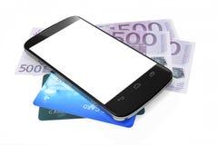 Smartphone, euro notes et cartes de crédit pour le paiement mobile Image libre de droits