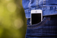Smartphone in everyday life. phone in jeans pocket. Smart Phone, Pocket, Mobile Phone Large Pants Stock Photos