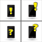 Smartphone with exclamation sign and question mark, isolated. Warning, notification on mobile phone Stock Photography