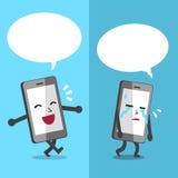 Smartphone exprimant différentes émotions avec le discours blanc bouillonne Image stock