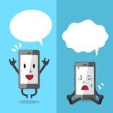Smartphone exprimant différentes émotions avec le discours blanc bouillonne Photographie stock