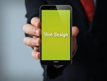 Smartphone för affärsman för rengöringsdukdesign Arkivfoto