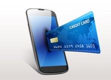 Smartphone för internetshoppingbegrepp med kreditkorten Arkivfoto