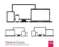 Smartphone, för minnestavla, för bärbar dator och för skrivbords- dator symboler Royaltyfria Bilder