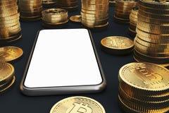 Smartphone för tom skärm, bitcoins vektor illustrationer