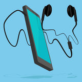 Smartphone förband med hörluren Royaltyfri Bild