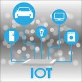 Smartphone förband till saker IOT och nätverksbegreppet, Bokeh bakgrund och illustrationen stock illustrationer