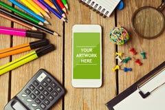 Smartphone förlöjligar upp mallen för affärspresentationer, och apps planlägger Fotografering för Bildbyråer