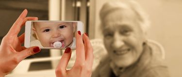 Smartphone, Face, Woman, Old, Baby Stock Photo
