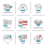 Smartphone features line icons set Royalty Free Stock Photo