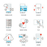 Smartphone features line icons set stock illustration