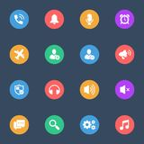 Smartphone features vector flat icons on the color substrate set of 16. On dark blue background vector illustration