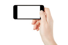 Smartphone in female hand, horizontal Stock Photo